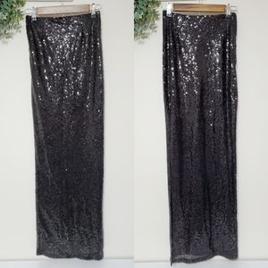 Windsor Black Sequin Maxi Skirt Size Small NWT